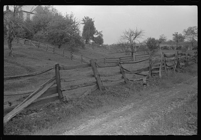 Old fences around farm in coal mining section near Scott's Run, West Virginia