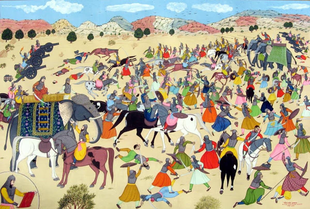 خلیل اللہ خان سامو گڑھ کی جنگ کے دوران دارا شکوہ کو ہاتھی سے اترنے کا کہتے ہوئے۔ — پینٹنگ پبلک ڈومین