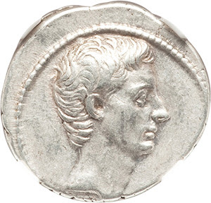 Octavian, as Sole Imperator (30-27 BC). AR denarius (19mm, 3.88 gm, 12h). NGC Choice XF 5/5 - 4/5, Fine Style