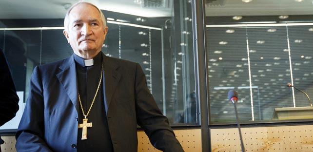 El arzobispo Silvano M. Tomasi, representante permanente del Vaticano ante Naciones Unidas en Ginebra, durante su comparecencia ante el Comité de la ONU sobre la Tortura.