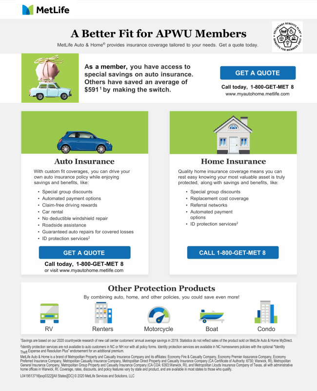 Apwu Auto Home Discounts Available National News Apwu 133