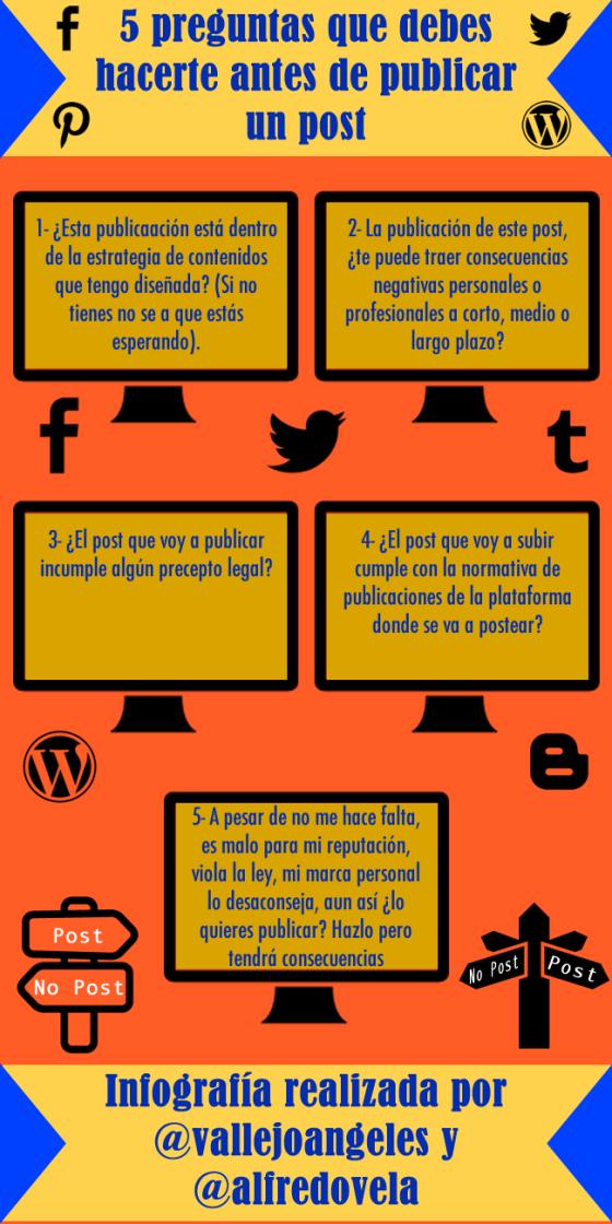 5 preguntas que debes hacerte antes de publicar un post #infografia #infographic #socialmedia
