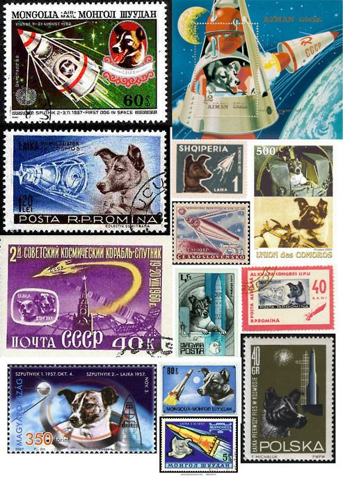 stamp collection showing Laika the dog