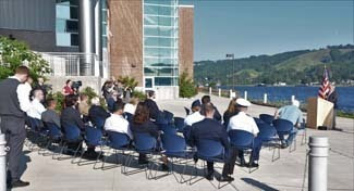 Dr. Guy Meadows, director of the Great Lakes Research Center in Houghton, speaks during the Aug. 10 dedication.