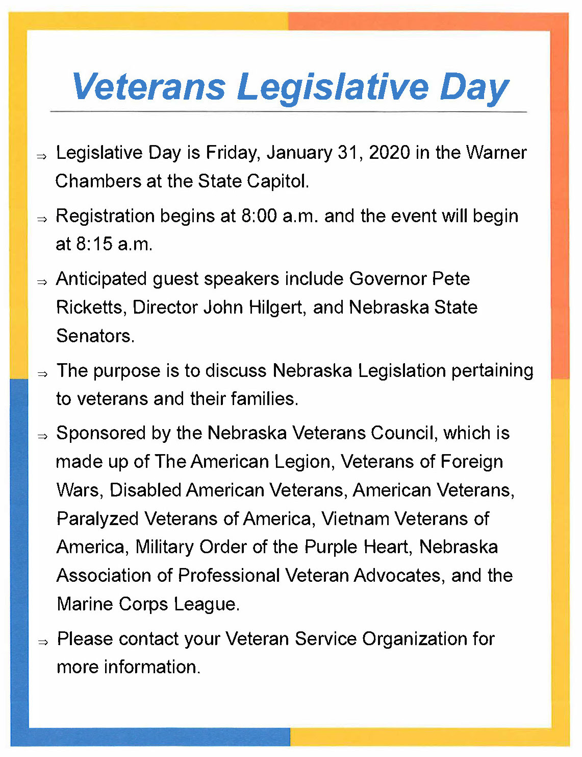 Veterans Legislative Day Flyer
