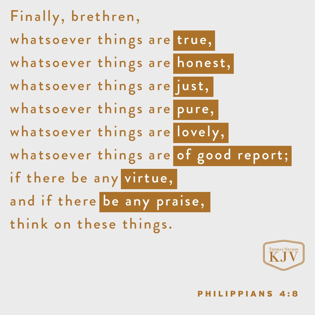 8 Finally, brethren, whatsoever things are true, whatsoever things are honest, whatsoever things are just, whatsoever things are pure, whatsoever things are lovely, whatsoever things are of good report; if there be any virtue, and if there be any praise, think on these things. Philippians 4:8