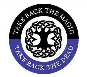 Text take back the magic, take back the dead, in a circle around a tree-like symbol.