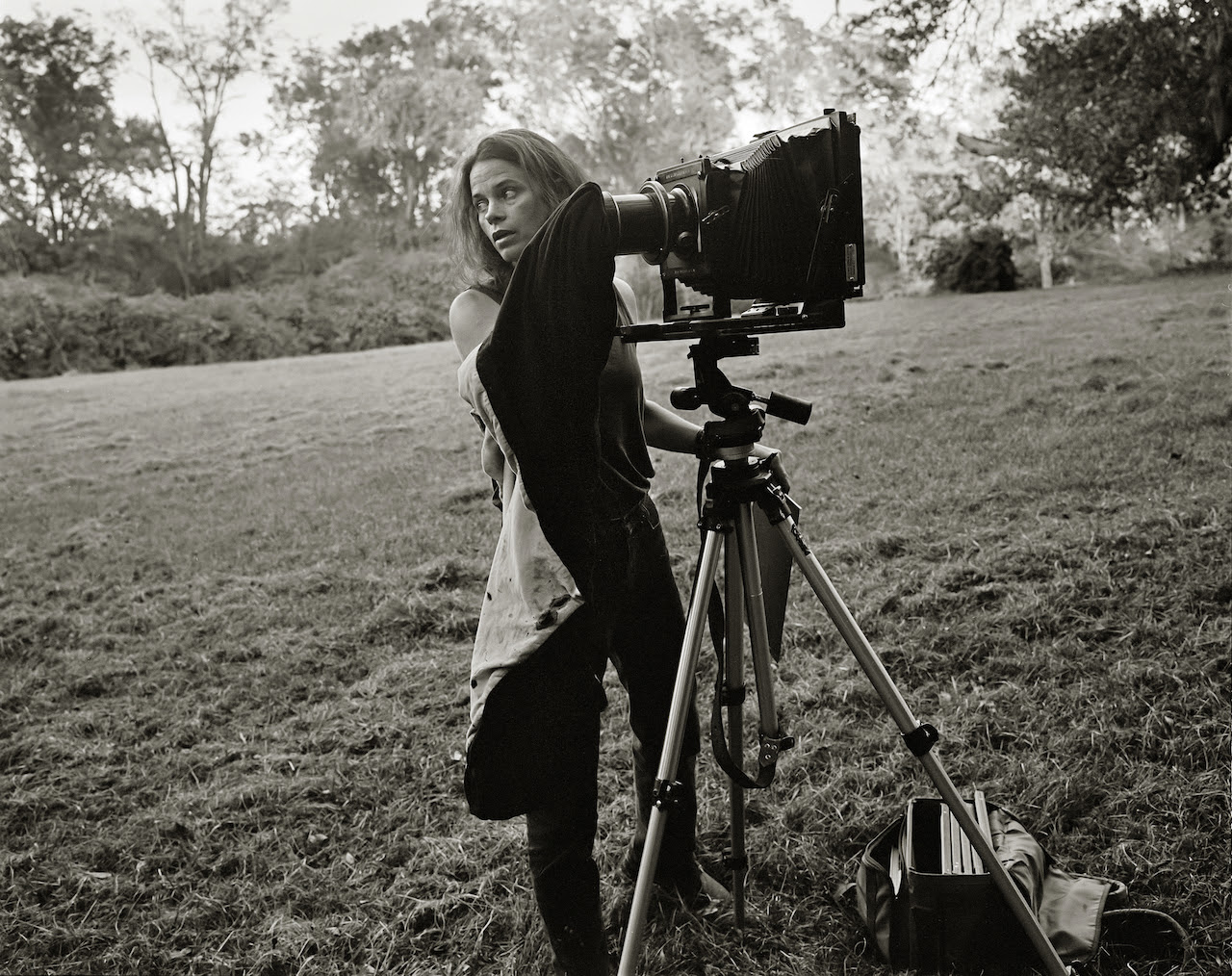R. Kim Rushing, Sally with camera (c. 1998). Gelatin silver print. Collection of Sally Mann. Image © R. Kim Rushing.
