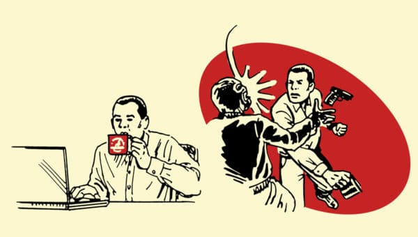 coffee mug improvised weapon illustration