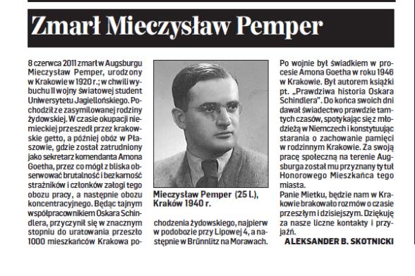 zmarl Mieczyslaw Pemper