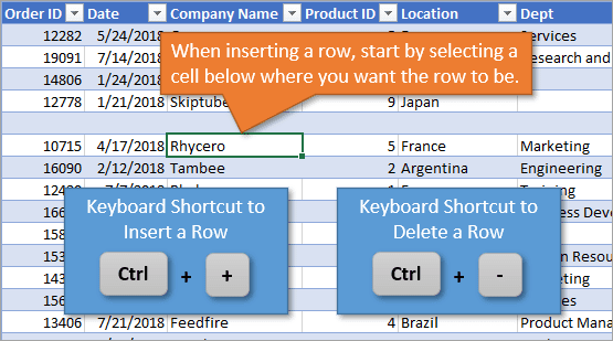 Shortcut to Insert or Delete a Row in Excel Tables