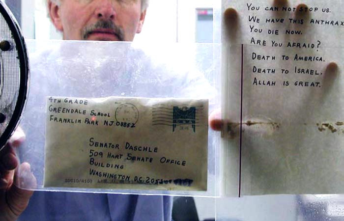 Anthrax assassination letter addressed to United States Senator Tom Daschle in 2001 shortly before the Congressional passage of the United States Patriot Act.
