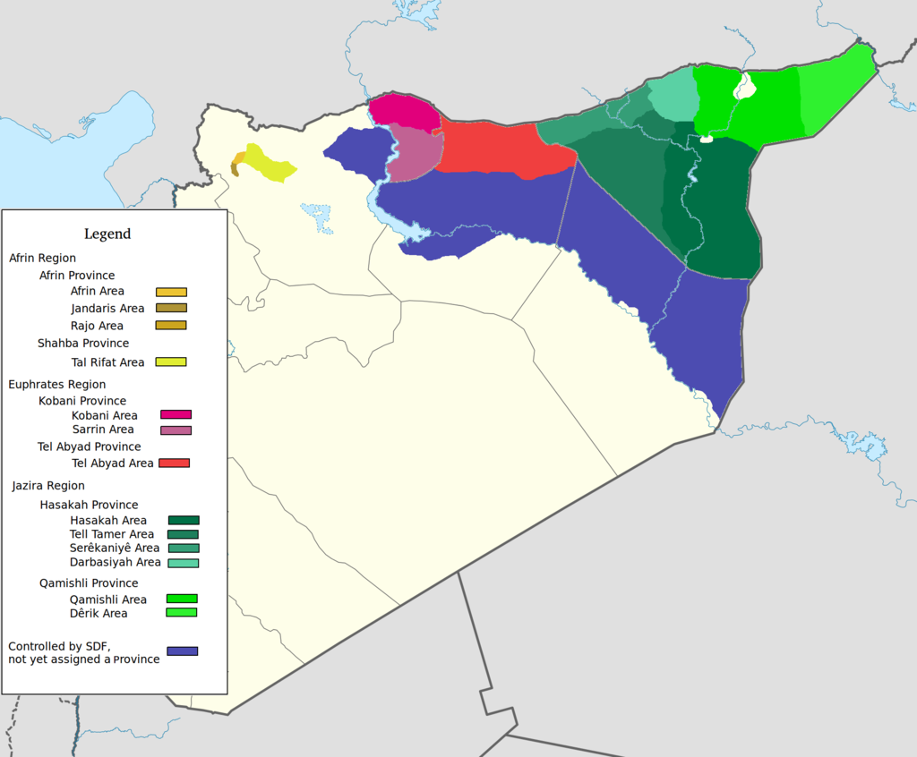 Areas under Democratic Federation of Northern Syria administration. (Wikipedia)