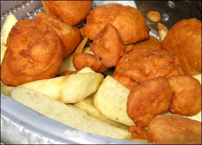 Fried yam and akara