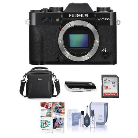X-T20 24.3MP Mirrorless Digital Camera UHD 4K Video, Panorama, Black - Bundle With camera