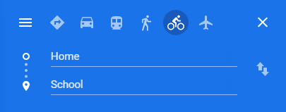 Blue background. Icons of different types of transportation. A person on a bicycle is selected.