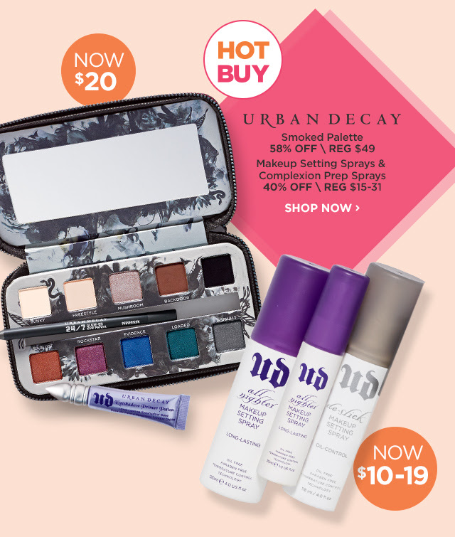 URBAN DECAY | Smoked Palette 58 Percent Off, NOW $20, Makeup Setting Sprays and Complexion Prep Sprays 40 Percent Off, NOW $10-19