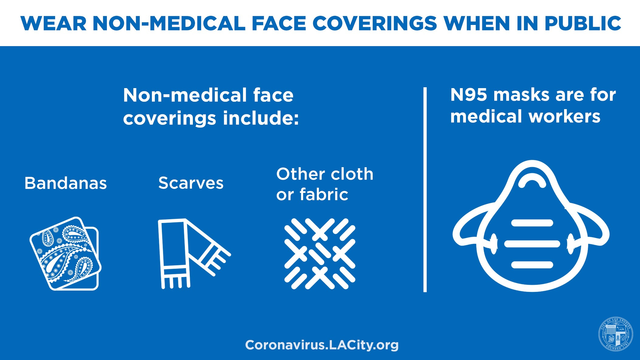 Use a cloth face covering in public, n95 masks are for medical workers