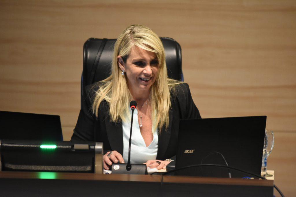 La presidenta María Eugenia Shmuck al frente de la sesión virtual del 28 de octubre desde el recinto de sesiones