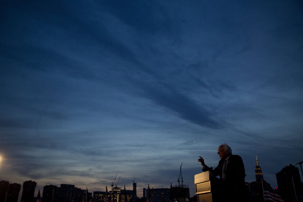 Senator Bernie Sanders of Vermont spoke at a campaign rally in Hunter's Point South Park in Queens on Monday.