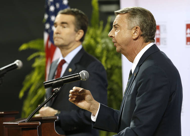 Gillespie, right, speaks during the debate. (Steve Helber/Associated Press)