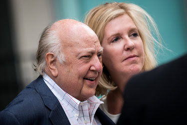 Roger Ailes with his wife, Elizabeth Tilson, on July 19 in New York City.