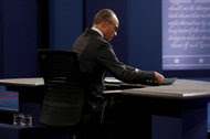 """Lester Holt before Monday's debate. He told the audience he intended to """"facilitate"""" a conversation."""