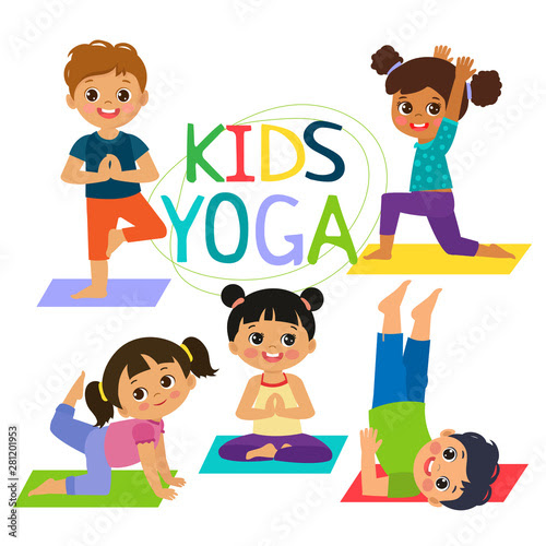 Image result for cartoon image of kids yoga