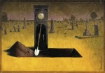 surrealism-painting-grandfather-clock-grave-digger-irony-humor-art_zps780e9a81