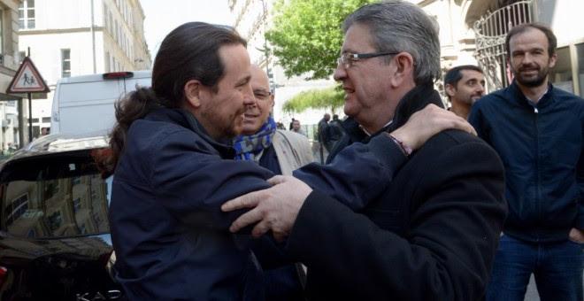 El candidato de Francia Insumisa, Jean-Luc Mélenchon, y Pablo Iglesias en Francia / DANI GAGO - Imagen de archivo