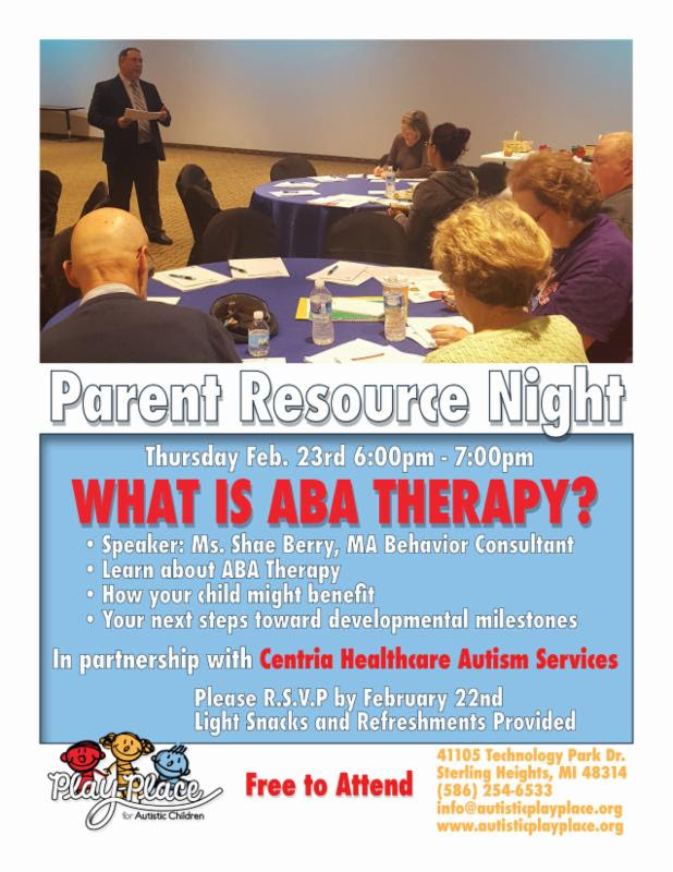 For Parents Of Autistic Kids 22nd >> Parent Resource Night At Play Place For Autistic Children