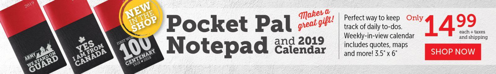 Pocket Pal Notepad and 2019 Calendar