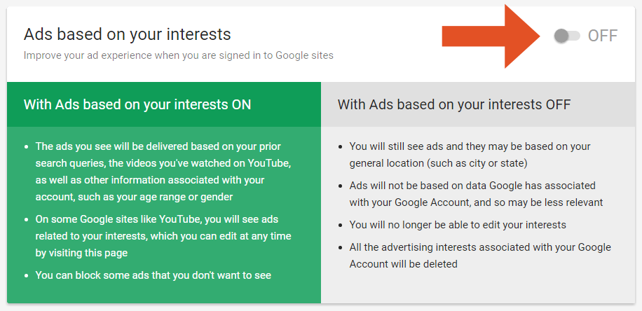 Picture of setting ad interests to off