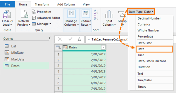 step 7 change type and rename column
