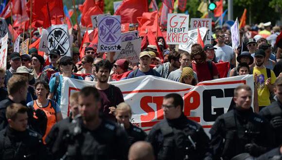 Protestas en Alemania contra cumbre del G7. Foto: DPA