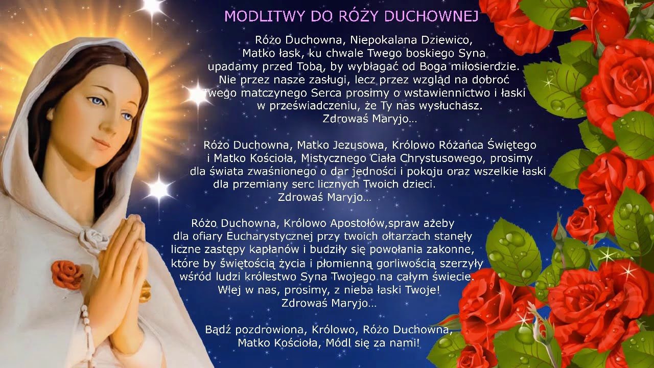 "Modlitwa do MARYI - RÃ""Å»Y DUCHOWNEJ - - YouTube"