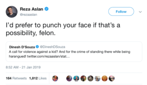 "Reza Aslan calls for violence against falsely accused high school student, wants to ""punch"" Dinesh D'Souza's face"