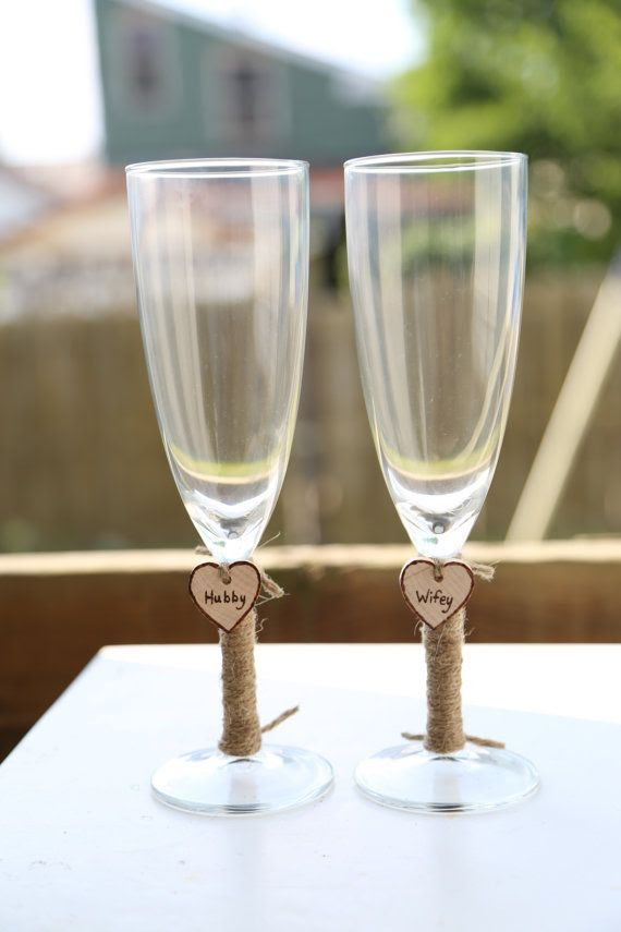 2 Personalized Wedding Glass Flutes & Charm Custom Shabby Chic Rustic Country Reception