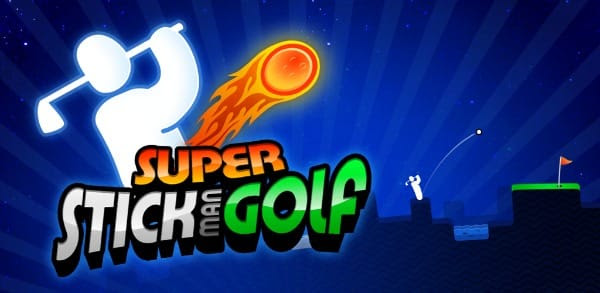 Super Stickman Golf app banner to promote today's free Android app download