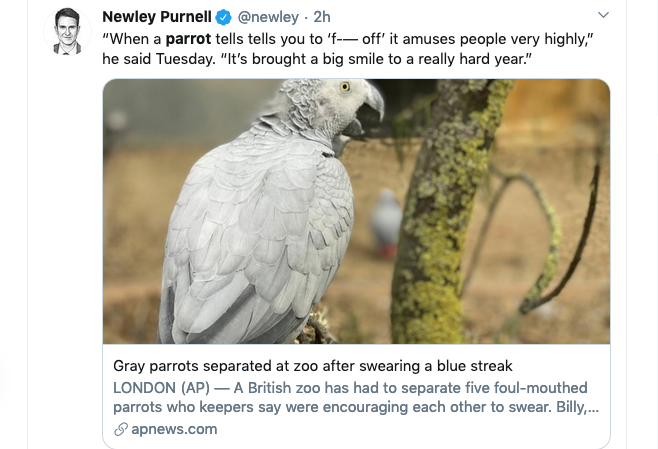 A screen grab of a tweet from Newley Purnell.