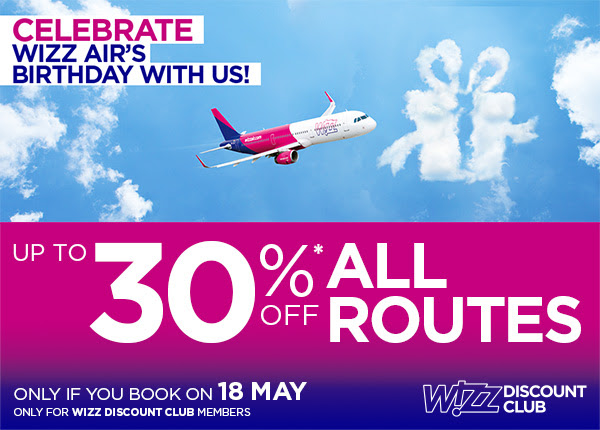 Celebrate WIZZ Air's Birthday with us! Book your Wizz Air flight today for your summer trip.