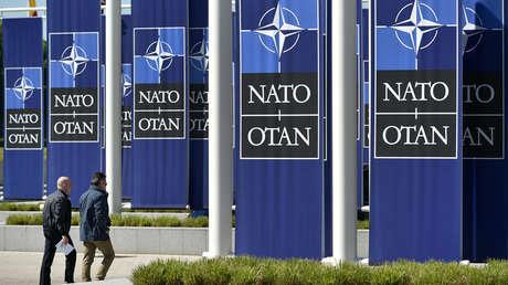 Entrada del nuevo edificio que alberga la sede de la OTAN en Bruselas el 7 de mayo de 2018.