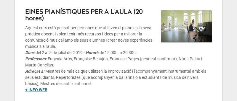 EINES PIANÍSTIQUES PER A L'AULA (20 hores) Aquest curs està pensat per persones que utilitzen el...