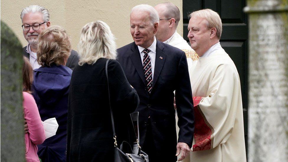 Joe Biden attending church