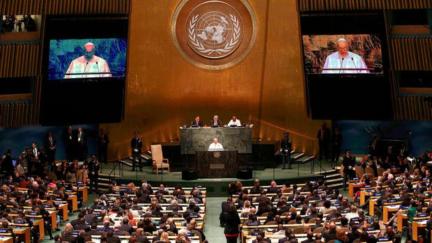El papa Francisco, en la Asamblea General de la ONU