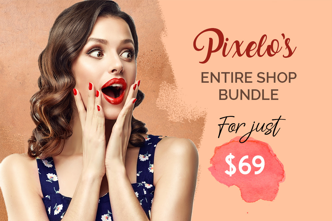 99% Off Pixelo Entire Shop Bundle – 226 Fonts & 6700+ Design Elements