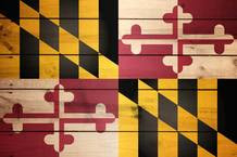 Maryland flag painted on wood
