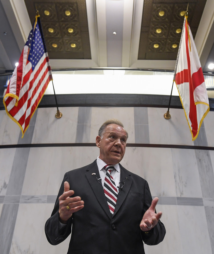 Senate candidate Roy Moore holds a press conference in Montgomery, Ala. (Mickey Welsh/Montgomery Advertiser/AP)