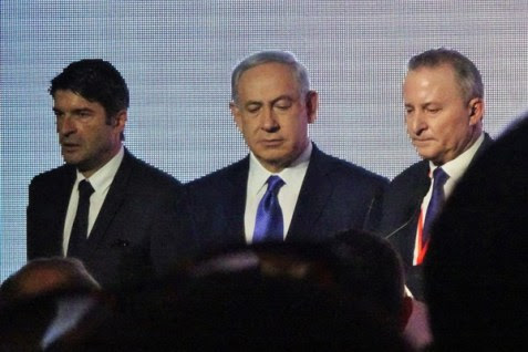 French Ambassador Patrick Maisonnave, PM Netanyahu and JPost Chief Editor Steve Linde