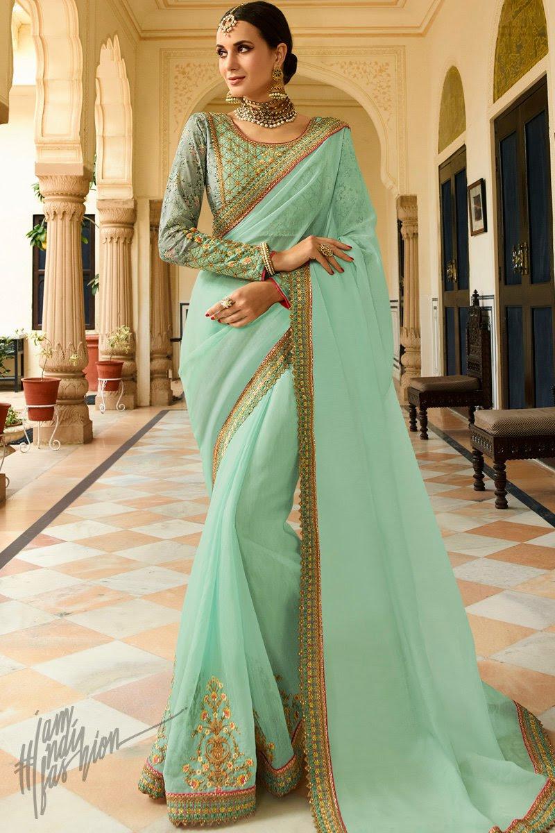 Light Sea and Light Olive Green Organza Silk Wedding Saree